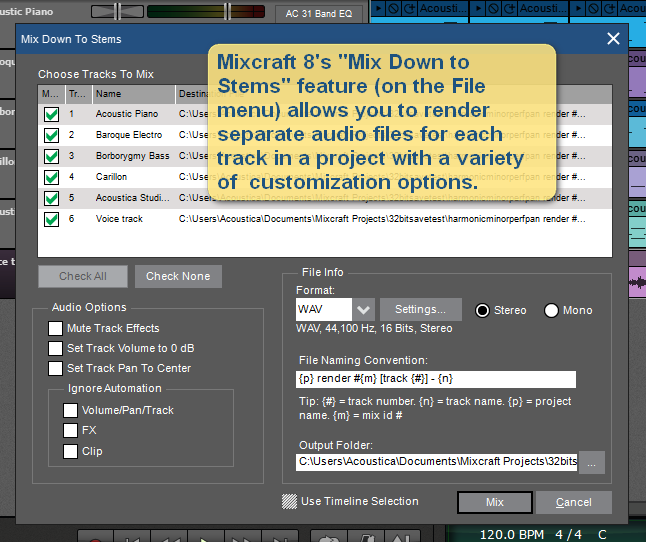 Mixcraft 8's stems feature.