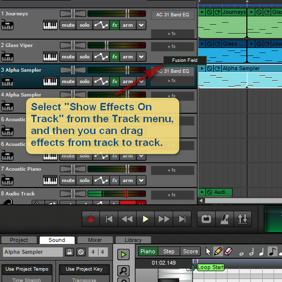 Show Effects On Tracks feature in Mixcraft 8.