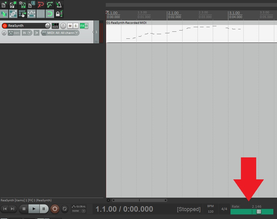 Playback rate in Reaper