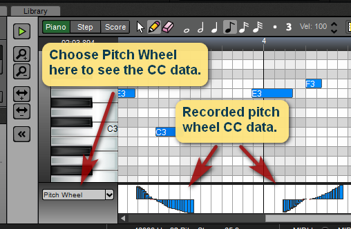 Pitch wheel commands.